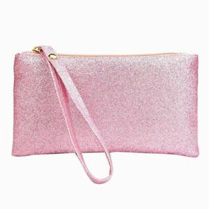 PINK CLUTCH BAG PURSE WITH WRIST STRAP PINK GLITTER
