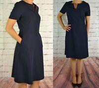 NEXT UK 8 EU 36 BLUE WORKWEAR DRESS LADIES A LINE TAILORED 157