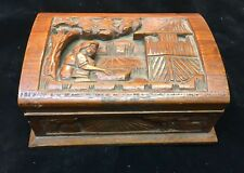 Vintage Hand Carved Art Wooden Box Mexico Or Indian