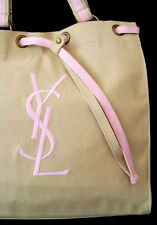 100%AUTHENTIC Exclusive XMAS YSL Signature NUDE&PINK GYM~BEACH TRAVEL CANVAS BAG