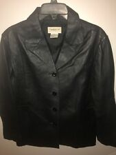 Tribeca Studio Petite Medium Black Leather Coat Jacket Blazer Lined Perfect Cond