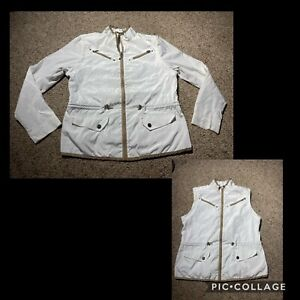 IZOD XFG Golf Womens Convertible Windbreaker Jacket Vest Zip WHITE SZ MEDIUM