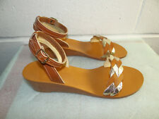 6285d74688b K. Jacques Brown Silver Leather Mini Wedge Sandals Women Sz 37 7M Made