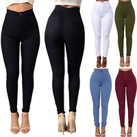 Skinny High Waisted Jeans Jeggings Women Stretchy Pants Slim Fit Long Trousers