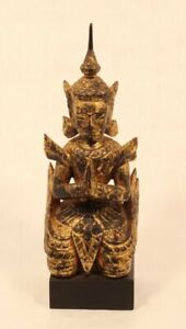 Thailand 19th c wood lacquer and gilt figure kneeling attendant