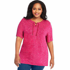 Just My Size Lace up Tunic - Hanes 24 Plus Berry Delight Space Dye 3x