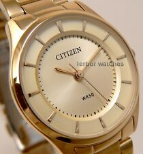 CITIZEN WOMEN GOLD TONE STAINLESS STEEL BAND 50m ER0203-51P