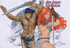 Ricardo Sales RED SONJA AND CONAN Pinup Drawing Original Art