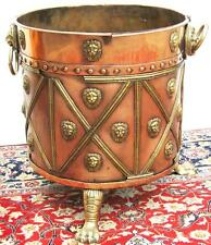 Antique 1850's English Copper Pail or Coal Scuttle with Brass handles and feet.