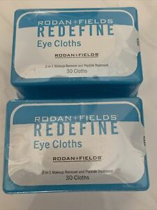 SEALED 2 PK Rodan + Fields REDEFINE Eye Cloths, 2-in-1 Makeup Remover 60 CLOTHS