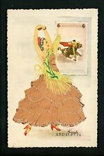 Embroidered clothing postcard Spain Adalucia woman costumes bull fighting