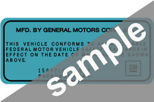 ALL GM Chevrolet VIN Certification Sticker Tag ID Label Data Decall Door Jamb
