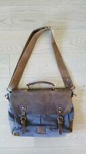 Lifewit Shoulder Messenger Bag Laptop Briefcasel Gray Canvas, Brown Leather nwot