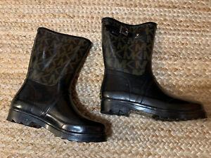 MICHAEL KORS Women's Monogram Logo MK Rubber Rain Boots Black Size 8 M