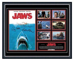 JAWS ORIGINAL 1975 ROBERT SHAW SIGNED POSTER LIMITED EDITION FRAMED MEMORABILIA