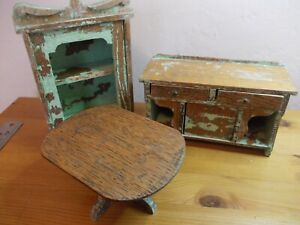 Furniture dolls house antique 3 pieces table cupboard sideboard wood