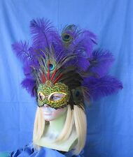 Handmade purple ostrich plume mask with peacock,coquil and pheasant feathers 964