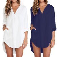 ZANZEA Women Oversized Buttons V Neck Long Sleeve Tops Blouse Tee Shirt Pullover