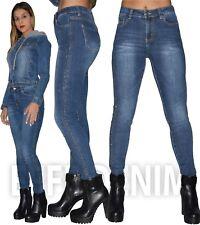 Jeans Donna con Strass Skinny Pantalone Aderente Slim Elasticizzati Nuovo 926