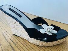 Beverly Feldman Pearl Flower Espadrille High Heel Sandals  Size 10 Neiman Marcus