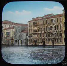 Glass Magic Lantern Slide VENICE FOSCARI PALACE GRAND CANAL C1890 VENEZIA ITALY