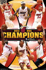 Miami Heat 2013 NBA CHAMPIONS 6-Player Commemorative Wall POSTER - LeBron James+