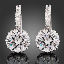 Cubic Zirconia Crystal Rhinestone Hoop Drop Earrings Bridesmaid Bridal Jewelry