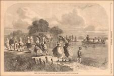 SOUTH EAST LOUISIANA, BAYOU LAFOURCHE coming from church by Waud, antique 1867