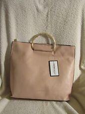 Melie Bianco Blush Pink Vegan Leather Gold Handle Handbag or Strap - Brigitte