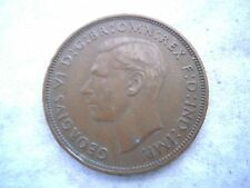 1938 KING GEORGE VI BRONZE PENNY COIN, Nice Original Patina, Nice Coin