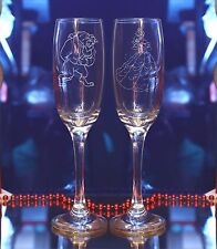 Beast & Princess Belle Wedding/Valentines/Birthday Champagne flutes Set of 2
