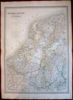 Holland Belgium Nederland Netherlands Pays-Bas 1856 huge scarce Dufour map