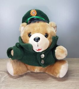 Polizei Bär Teddy Polizeibär ca. 26 x 26 cm mit grüner Uniform alt