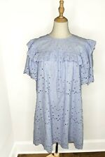 H&M CONSCIOUS BLUE BRODERIE EYELET LACE OVERSIZED KAFTAN TUNIC DRESS