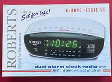 Roberts Chrono Logic VI CR9971 Dual Alarm Clock Radio WhiteSilver Boxed & Manual