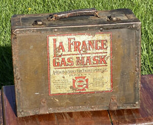 La France Antique WWI Army Gas Mask w/ Cannister & Portable Box Carry Case