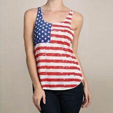 De Moda Para Dama Camiseta Verano Bandera Eeuu Sin Mangas Algodón
