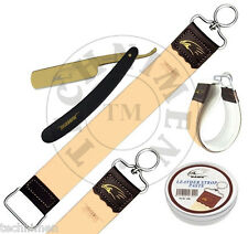 BARBER SALON STRAIGHT CUT THROAT WET SHAVING RAZOR AND LEATHER STROP PASTE 10ml