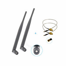 2 6dBi RP-SMA WiFi Antennas + 2 12'' U.fl Cable For Linksys WRT600N WRT610N NEW