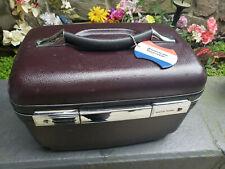 AMERICAN TOURISTER Train Case Maroon Vintage Tray Key Mirror