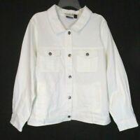 Women with Control Denim Jacket Sz 2X White Jean Button A355019 Women CB39Q