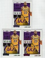 (3 LOT) 2018-19 LeBron James Contenders Game Season Ticket Red Green #30 Lakers