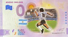 BILLET 0  EURO DIEGO MARADONA 1960-2020  COULEUR 2020  NUMERO DIVERS