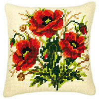 """Three Poppies Chunky cross stitch cushion front kit 16x16"""" tapestry canvas"""