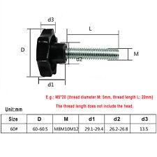 M10 Black  Hand Grip Knob Bolt Thumbscrew Plastic Seven Corners Star Thumb Screw