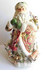 Vintage Fitz Floyd Winter Holiday Santa Cookie Jar Bear Rabbit Fox & Bag of Toys