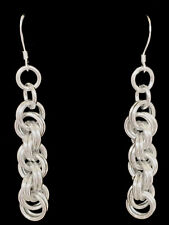 Chainmaille Sterling Silver Double Spiral Rope Earrings. 2 14 inches.