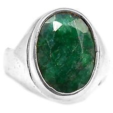 Indian Emerald 925 Sterling Silver Ring Jewelry s.7 EMER1147