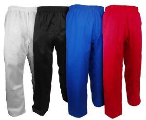 NEW Karate Taekwondo PANTS Martial Arts Uniform Adult Child White/Black/Red/Blue