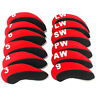 12PCS Golf Iron Head Cover Red Neoprene For Mizuno Titleist Taylormade Callaway